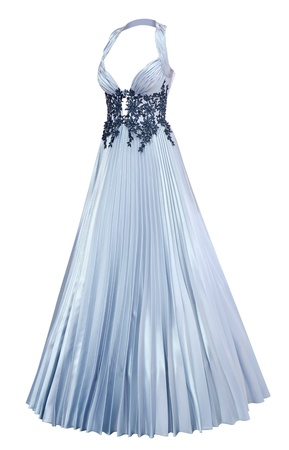 pleated: a ladies silver satin evening dress with a pleated skirt