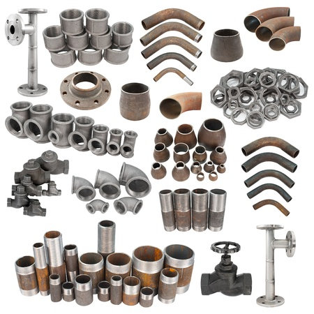a set of iron pipe fittings, isolated over white