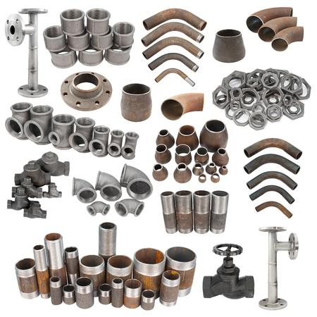 guarniciones: un conjunto de accesorios de tuber�a de hierro, aislado m�s de blanco Foto de archivo