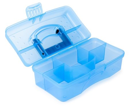 a new plastic box for tools, over white photo