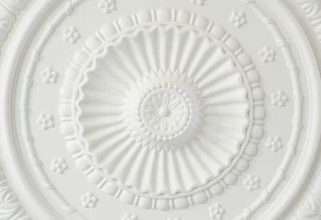 ceiling plate: a polyurethane ceiling plate, a closeup shot