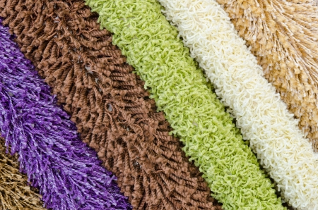 different colourful artificial shaggy carpet samples, closeup Stock Photo - 14115216