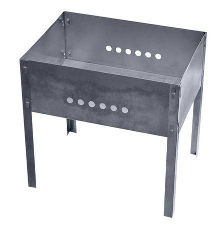 chargrill: a new metal brazier  chargrill , isolated over white