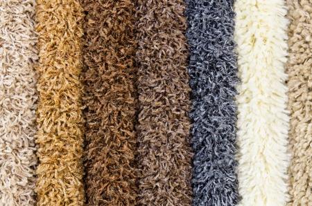 shaggy: different shaggy carpet samples, a closeup shot
