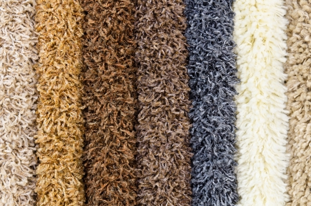 black carpet: different shaggy carpet samples, a closeup shot