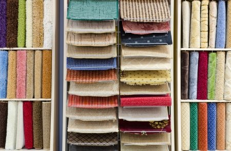 a carpet store - a showcase with samples