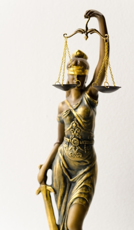 themis: a statue of Justice, the focus is on scales Stock Photo
