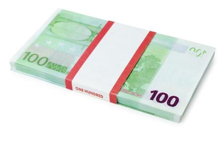 batch of euro: a batch of 100 euros notes, over white