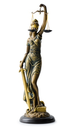 a statue of Justice, isolated over white Stock Photo - 14220029