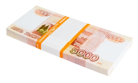 a batch of 5000 Russian rubles notes, over white Stock Photo