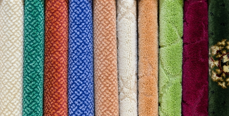 showpiece: different relief carpet samples, a closeup shot Stock Photo