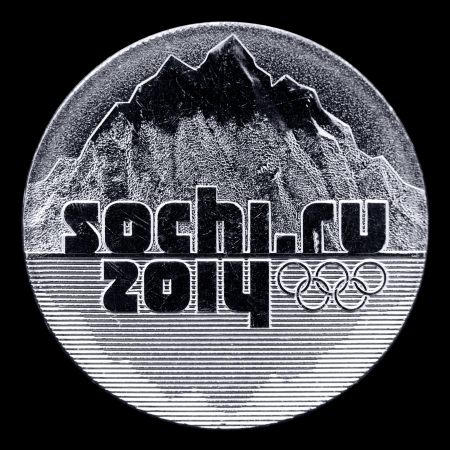 memorable: a coin Sochi 2014  Winter Olympics 2014 location , isolated over black