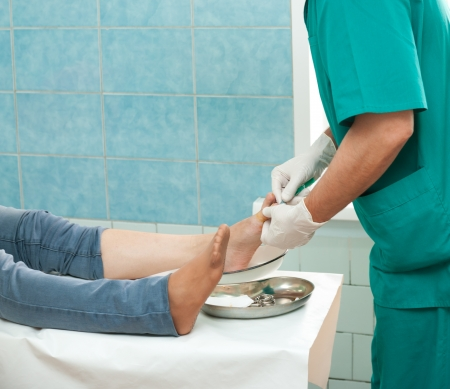 manipulation: a surgeon cures a sick finger of a patient