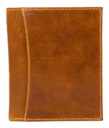 plain stitch: a brown mens leather wallet, isolated over white
