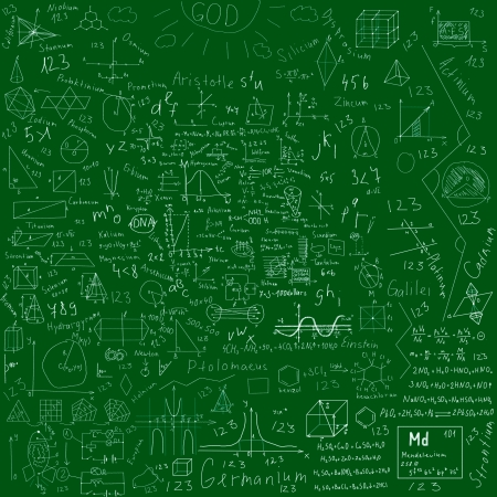 school subjects formulas and drawings -  made with chalk over green blackboard