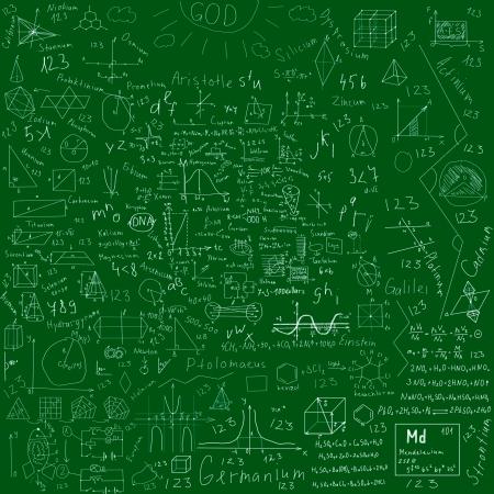 teorema: sujetos f�rmulas escolares y dibujos hechos con tiza - sobre verde pizarra Foto de archivo