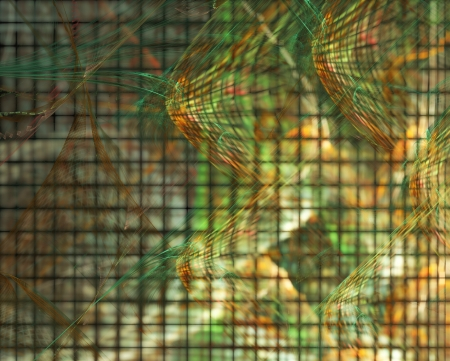multilayer: abstract fractal background - green and orange curves over glowing squares Stock Photo