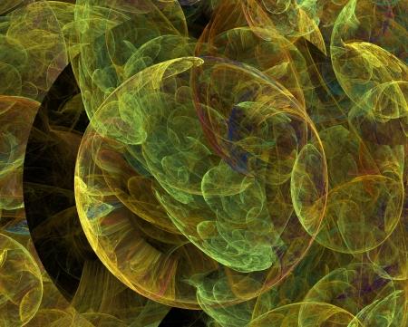 laminated: abstract fractal background - many smoky green spheres Stock Photo