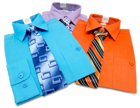 mens: three new colorful shirts with ties for men, isolated Stock Photo