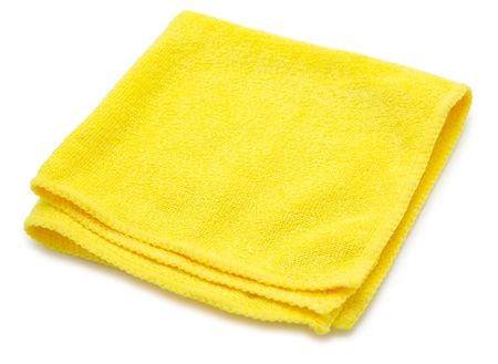 a yellow microfiber cleaning towel, over white background