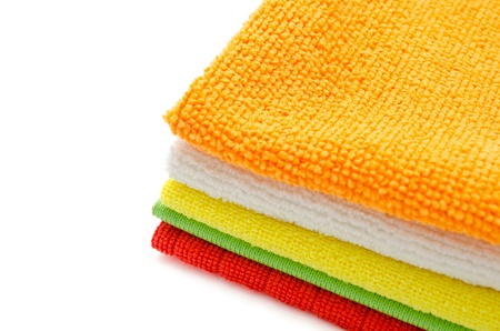 hardwearing: colorful microfiber cleaning towels, over white background, copy space