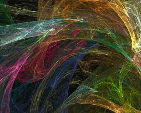 abstract fractal background - transparent colorful veils over black photo
