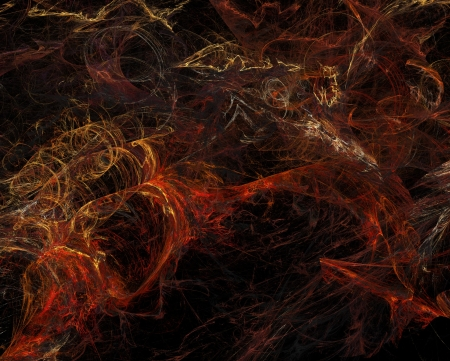 interrupted: abstract fractal background - fire colorful curves over black Stock Photo