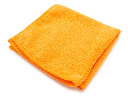 hardwearing: an orange microfiber cleaning towel, over white background