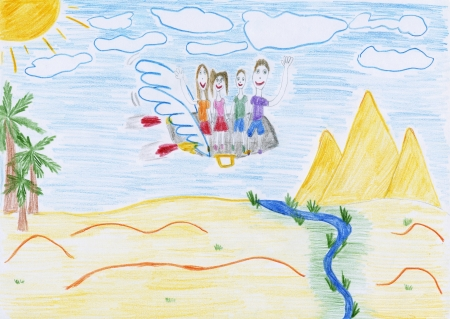 a kids drawing - a family flies on a winged suitcase to Egypt photo