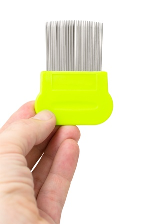 plastic comb: a special tooth comb for lice and nits removing in a male hand