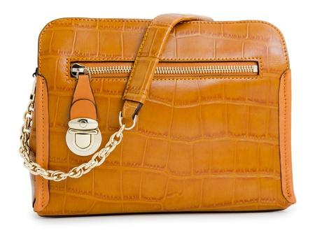 genuine good: a light brown ladies handbag, isolated over white