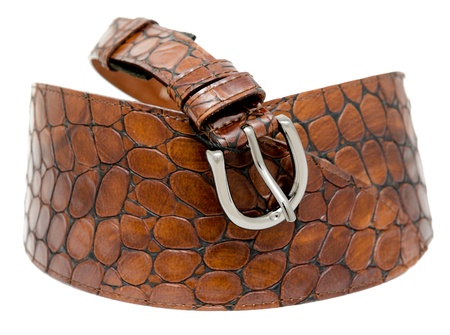 embossment: a ladies brown leather belt, isolated over white Stock Photo