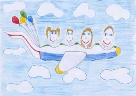a kids drawing - a family flies by plane in the sky photo
