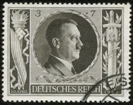 cancelled stamp: GERMANY - CIRCA 1943  A stamp printed by the fascist Germany Post is a portrait of Adolf Hitler, circa 1943 Editorial
