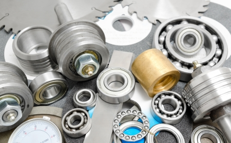 different spare parts for powersaw benches - bearings, saw blades, abrasive disks, bushes