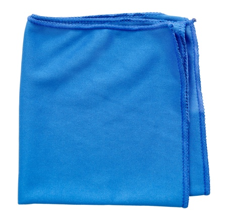 hardwearing: a blue microfiber cleaning towel, over white background