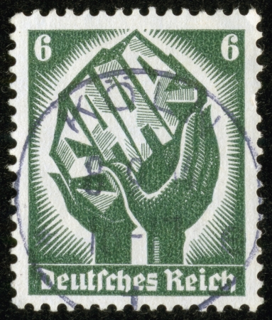 saar: GERMANY - CIRCA 1934  A stamp printed by the fascist Germany Post is entitled  Saar   It is devoted to the end of Saarland protectorate, circa 1934 Editorial