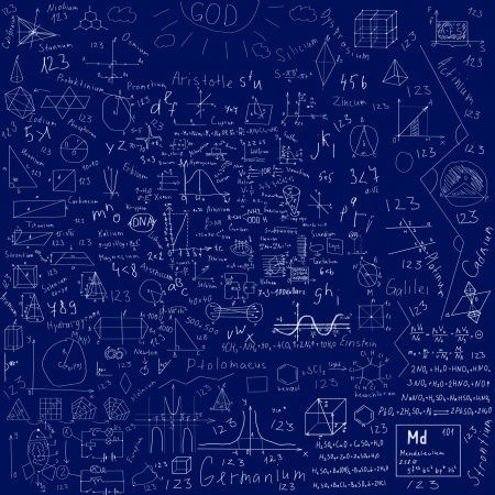 school subjects formulas and drawings -  made with chalk over blue blackboard