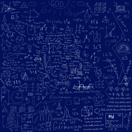 teorema: sujetos f�rmulas escolares y dibujos hechos con tiza - en azul pizarra