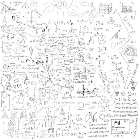 garabatos: sujetos fórmulas escolares y dibujos hechos con tiza - sobre negro pizarra