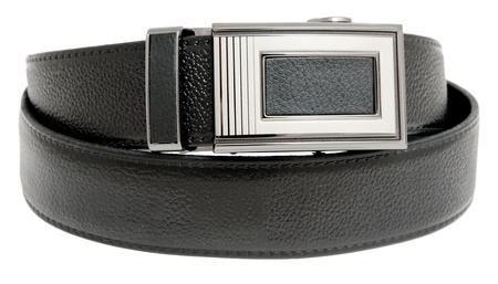 embossment: a mens black leather belt, isolated over white