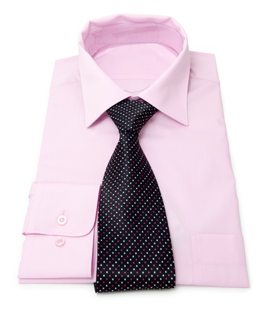 new mens pink shirt with tie photo