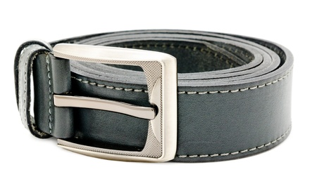 a mens black leather belt, isolated over white photo