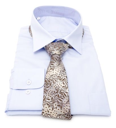 new mens blue shirt with tie photo