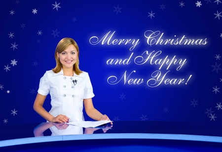 television anchorwoman Merry Christmas Happy New Year photo