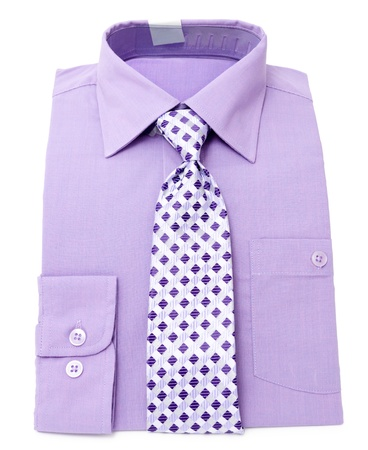 new mens violet shirt with tie with diamond pattern photo