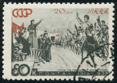 "comrade: SOVIET UNION - CIRCA 1938  A stamp printed by the Soviet Union Post is entitled  The arrival of comrade Stalin to 1st Cavalry"", circa 1938 Stock Photo"
