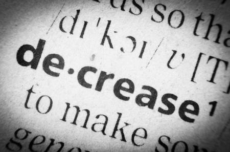 glossary: the word  decrease  in English glossary, super macro