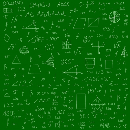 mathematical formulas and drawings -  made with chalk over green blackboard photo