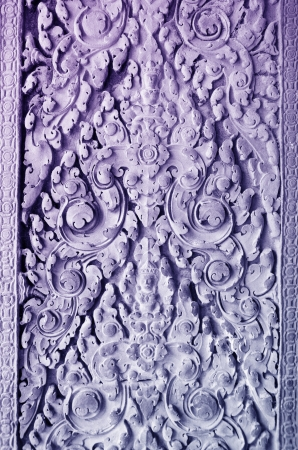 low relief: low relief in Angkor - floral pattern with deity, blue toning